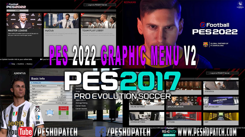 NEW DARK STYLE PES 2022 GRAPHIC MENU V2 For PES 2017