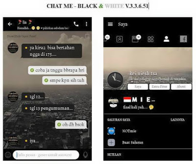 Download BBM Mod Chat Me Black White 3.3.6.51 Terbaru Unclone