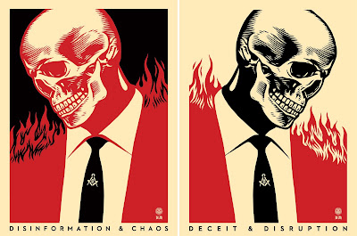 Obey Giant Deceit & Disruption Screen Print Diptychs by Shepard Fairey x Francisco Reyes Jr.