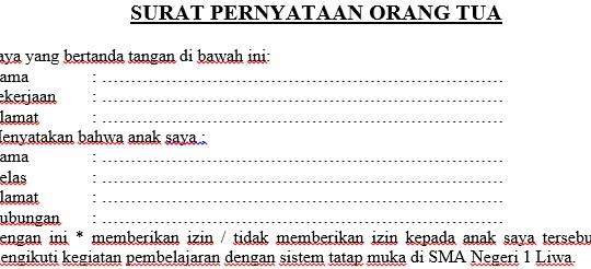 Contoh Surat Pernyataan Orang Tua Belajar Tatap Muka ...