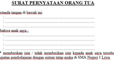 Surat Pernyataan Orang Tua Izin Pembelajaran Tatap Muka Sman 1 Liwa Official