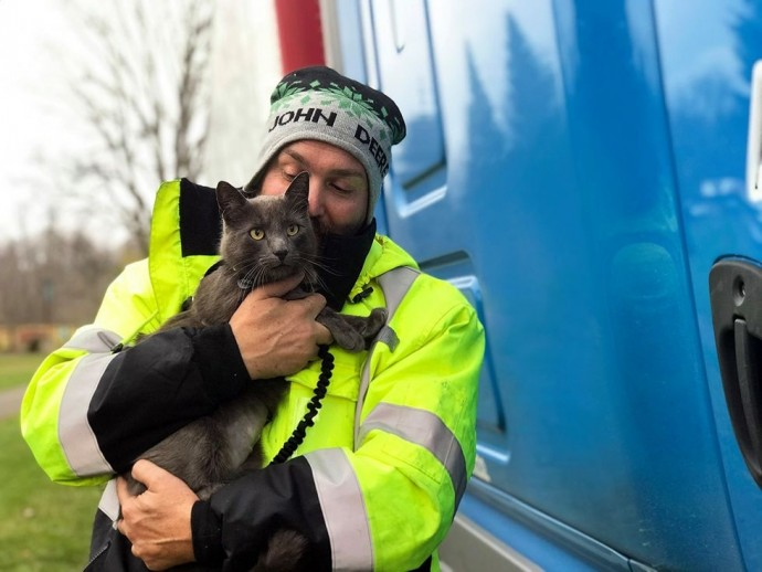 Truck Drivers Cries As He Gets Reunited With His Cat He Lost For 5 Months