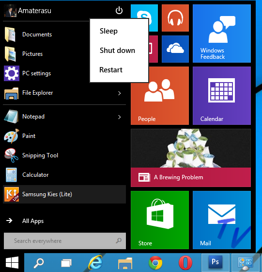 Cara Mematikan (Shut Down, Sleep, Restart) Windows 10