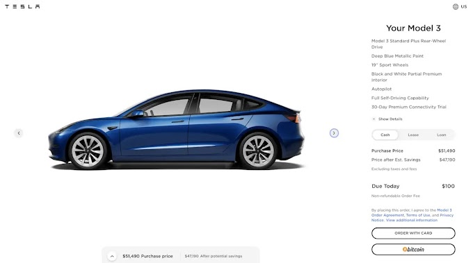 You can now buy a Tesla with bitcoin in the US - will be available outside the US later this year