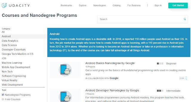 Udacity لدورات درجة النانو والدورات المجانية في تطوير التطبيقات