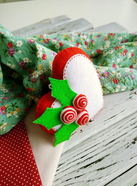 красный, новый год, елочная игрушка, фетр