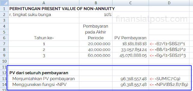 present value dari non anuitas