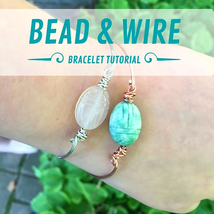 Dishfunctional Designs: Easy Scarab Bead & Wire Bangle Bracelet Tutorial