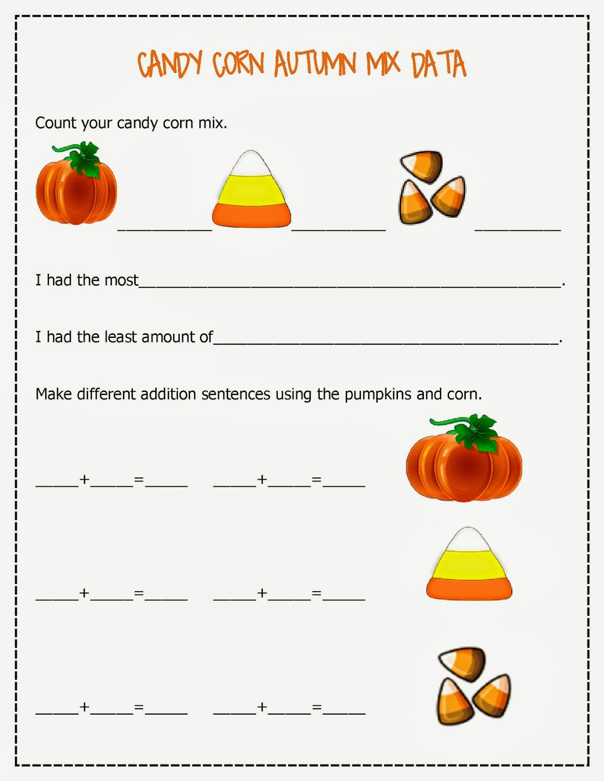 Candy Corn Autumn Mix Worksheets
