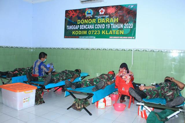 Penuhi Kebutuhan Darah Ditengah Pandemi Covid-19, Kodim 0723/Klaten Gelar Donor Darah