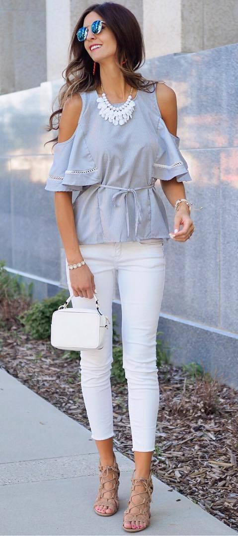 summer fashion trend: top + bag + skinnies