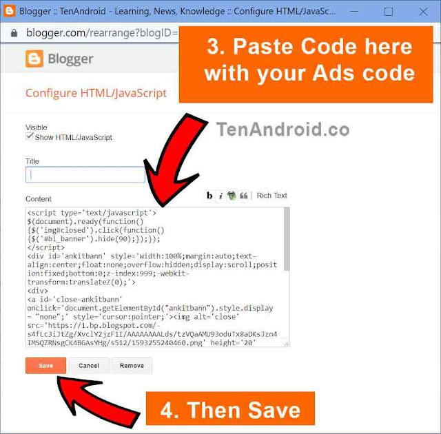 Floating bottom ads in Blogger code