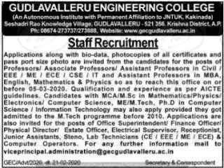 Gudlavalleru Engineering College Assistant Professor jobs