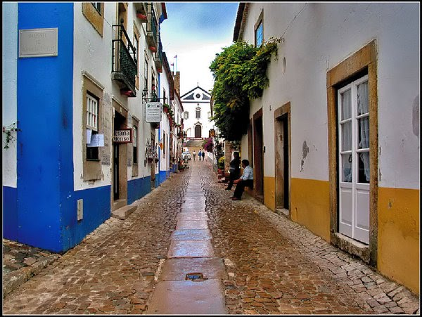 Portuguese traditional street at Obidos