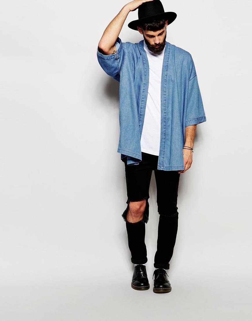 Look Masculino com Kimono Azul
