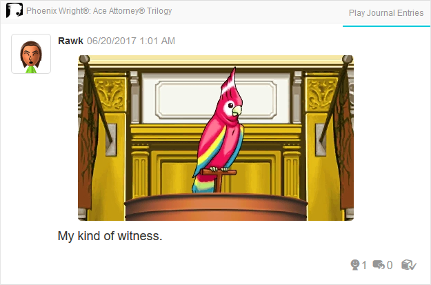 Polly parrot witness Jenkins Yanni Yogi Phoenix Wright Ace Attorney Trilogy 3DS Miiverse Capcom Nintendo