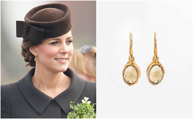 Kolczyki księżnej Kate z kwarcem miodowym