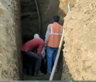 सीवरेज लाइन के निर्माण कार्य के लिए हो रही खुदाई के दौरान हुआ बड़ा हादसा