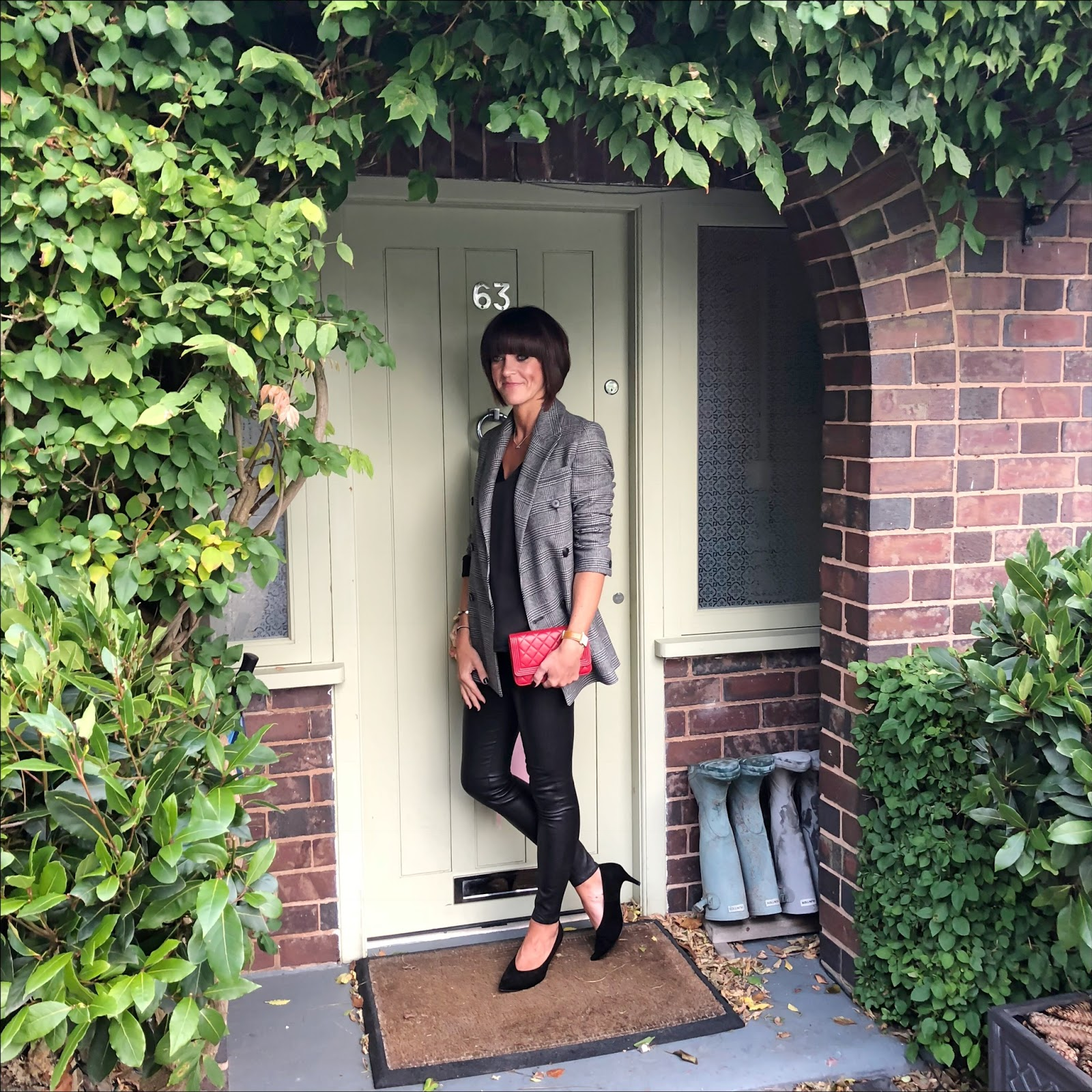 my midlife fashion, all saints astrid check blazer, marks and spencer silk v neck sleeveless blouse, chanel wallet on chain, massimo dutti leather leggings, sole bliss court shoes