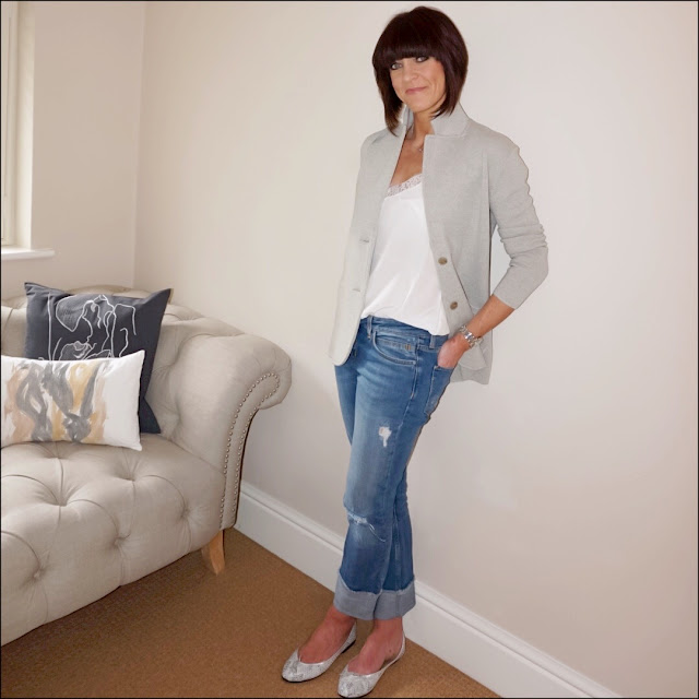 My Midlife Fashion, the white company silk trim lace camisole, j crew knitted jacket, zara distressed straight leg turn up jeans, french sole grey snake effect ballet pumps