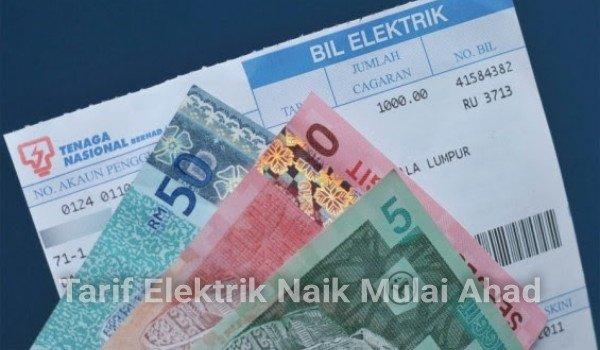 Tarif elektrik naik mulai Ahad
