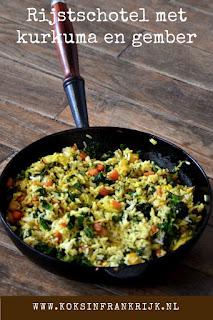Vegetarische rijstschotel met kurkuma, gember en komijn