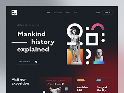 example of the statue web design trend, Halo UI/UX, by Halo Lab