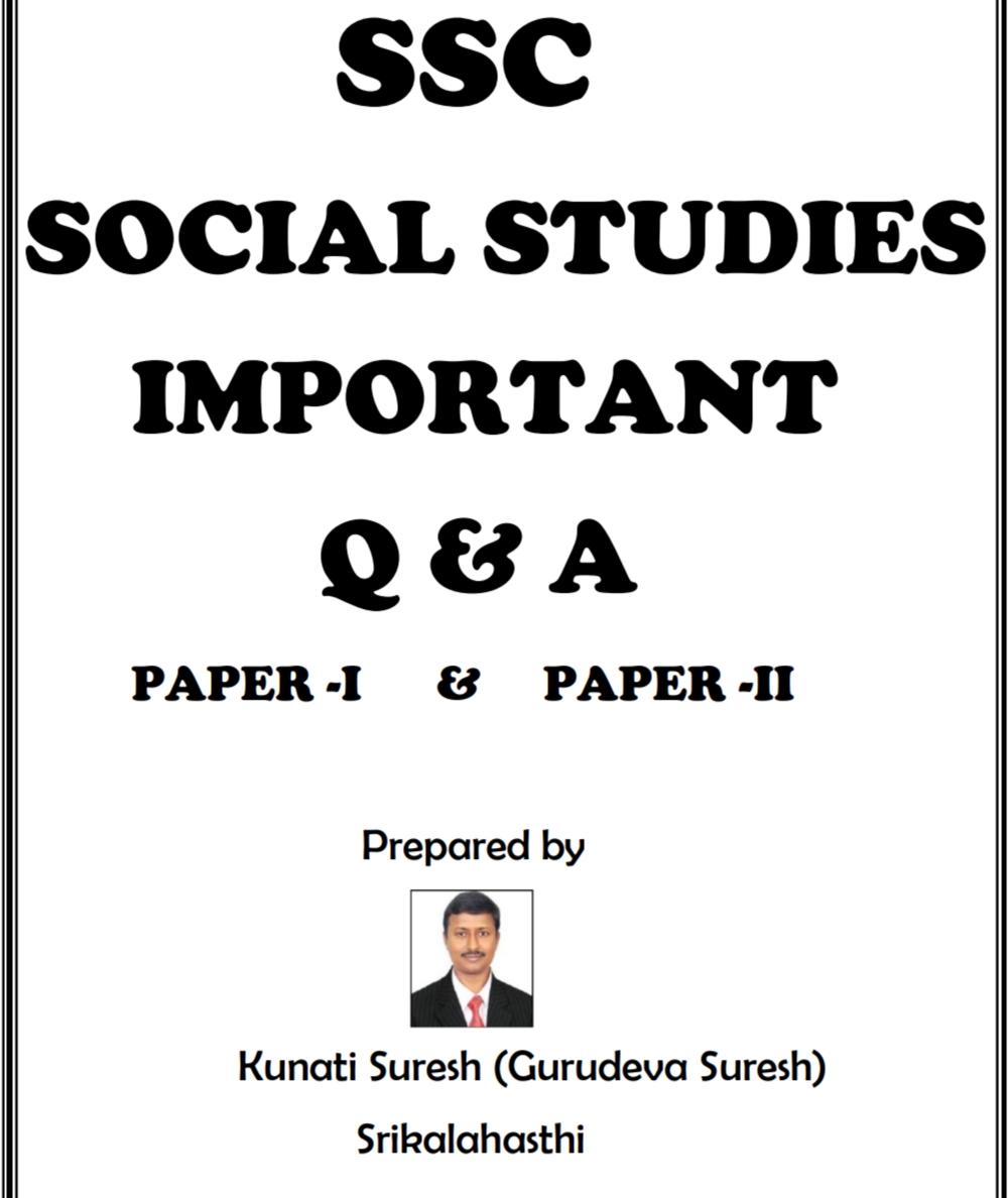 SSC Social studies Paper 1 , Paper 2 Important Questions