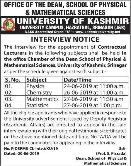 Notification regarding interview for the appointment of Contractual Lecturers - University of Kashmir
