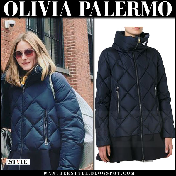 Olivia Palermo in navy blue quilted peplum hem moncler vouglans jacket and red sunglasses dior so real pop what she wore june 2017