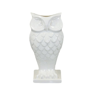 White Ceramic Owl Vase