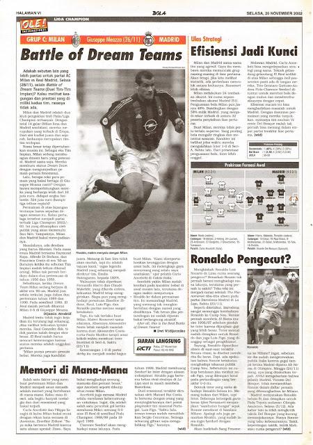 CHAMPIONS LEAGUE AC MILAN VS MADRID BATTLE OF DREAM TEAM