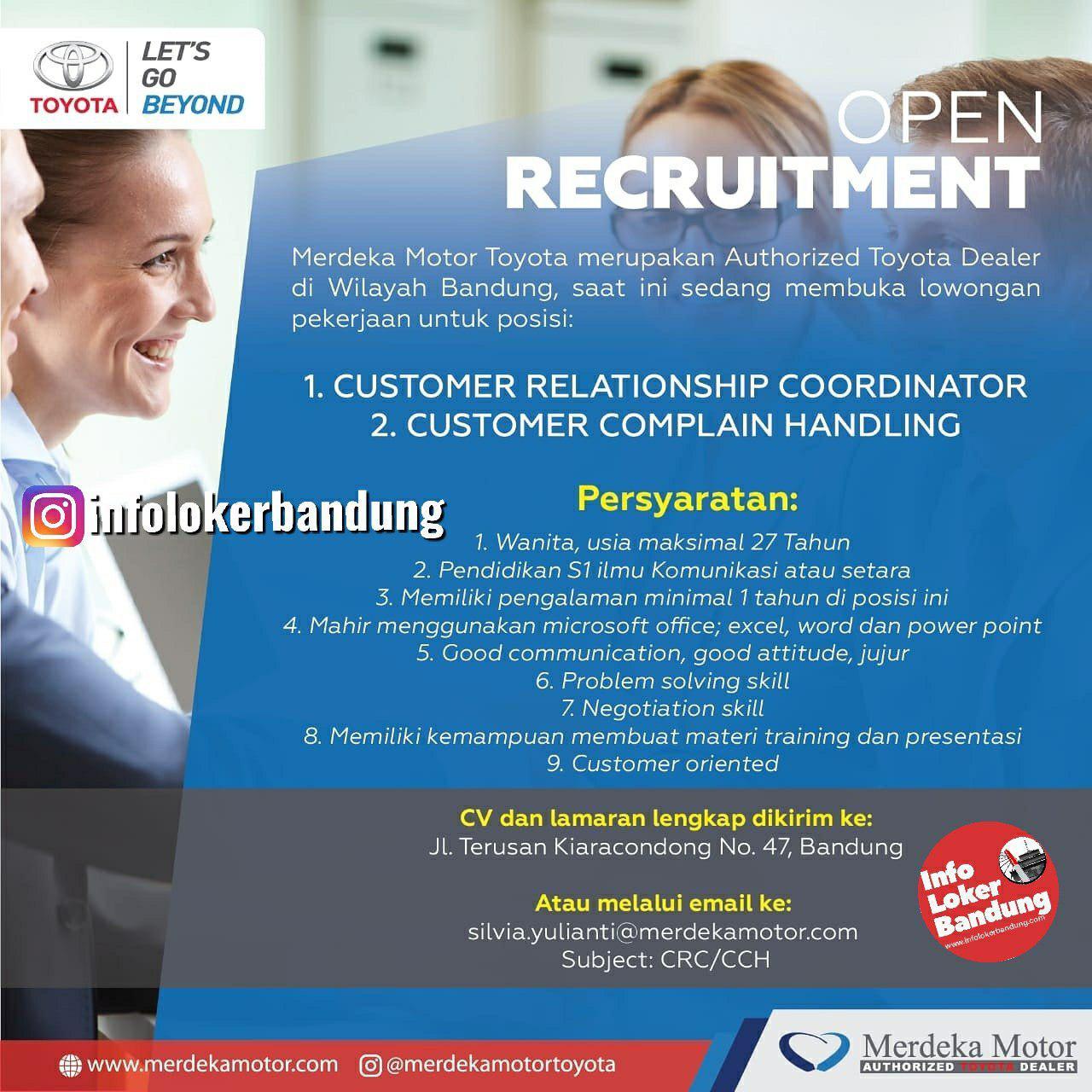 Lowongan Kerja CRC & CCH Merdeka Motor Bandung September 2019