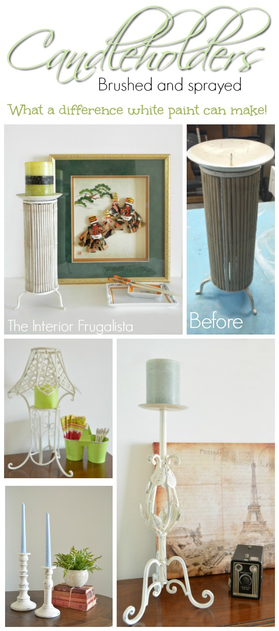 Quick and easy way to refresh candleholders with white paint