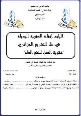 """مذكرة ماستر: آليات إنفاذ العقوبة البديلة في ظل التشريع الجزائري """"عقوبة العمل للنفع العام"""" PDF"""