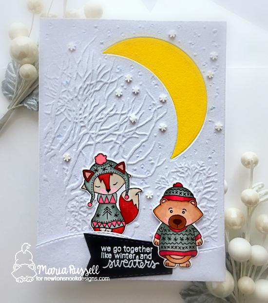 Newton's Nook Designs & Therm O Web Inspiration Week - Winter Sweater card by Maria Russell | Sweater Weather Stamp Set by Newton's Nook Designs and Flock Transfer Sheets by Therm O Web #newtonsnook #thermoweb