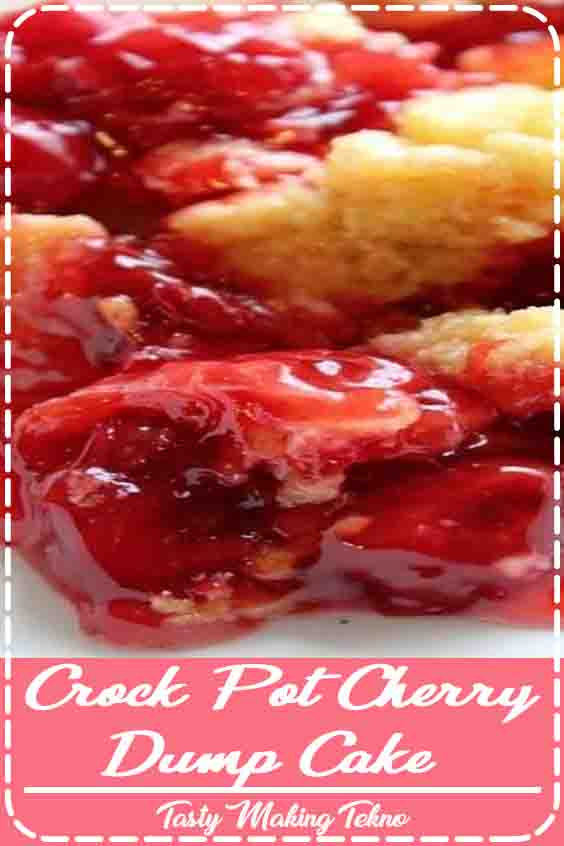 Easy Crock Pot Cherry Dump Cake Recipe that is perfect for family dinner or holidays