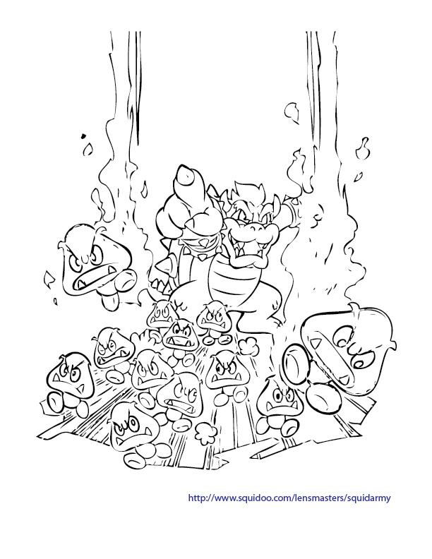 Mario Bros Coloring Pages Squid Army
