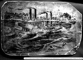 "Image of ""Cabinet Card Drawing of Steamboat Collision John Lomas & Scioto 1882 Ohio River."" Available from Front Window Antiques & Collectibles."