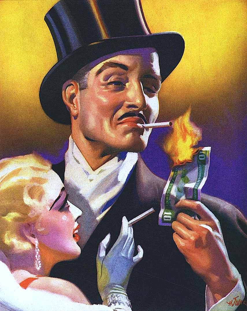 1937, burn money, light cigarette with money, top hat