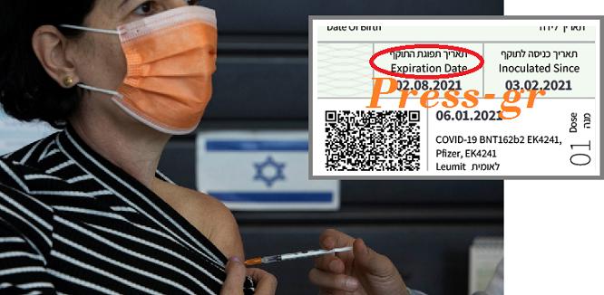 ΑΠΟΚΛΕΙΣΤΙΚΟ ΝΤΟΚΟΥΜΕΝΤΟ! Με «ημερομηνία λήξης» (μόνο) για 6 μήνες το εμβόλιο της Pfizer που γίνεται στο Ισραήλ…