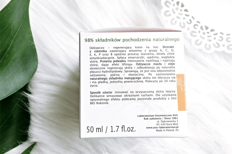 Bio Rokitnik odżywczy krem do twarzy na noc Ava - Kosmetyki z rokitnikiem Bio Rokitnik Ava