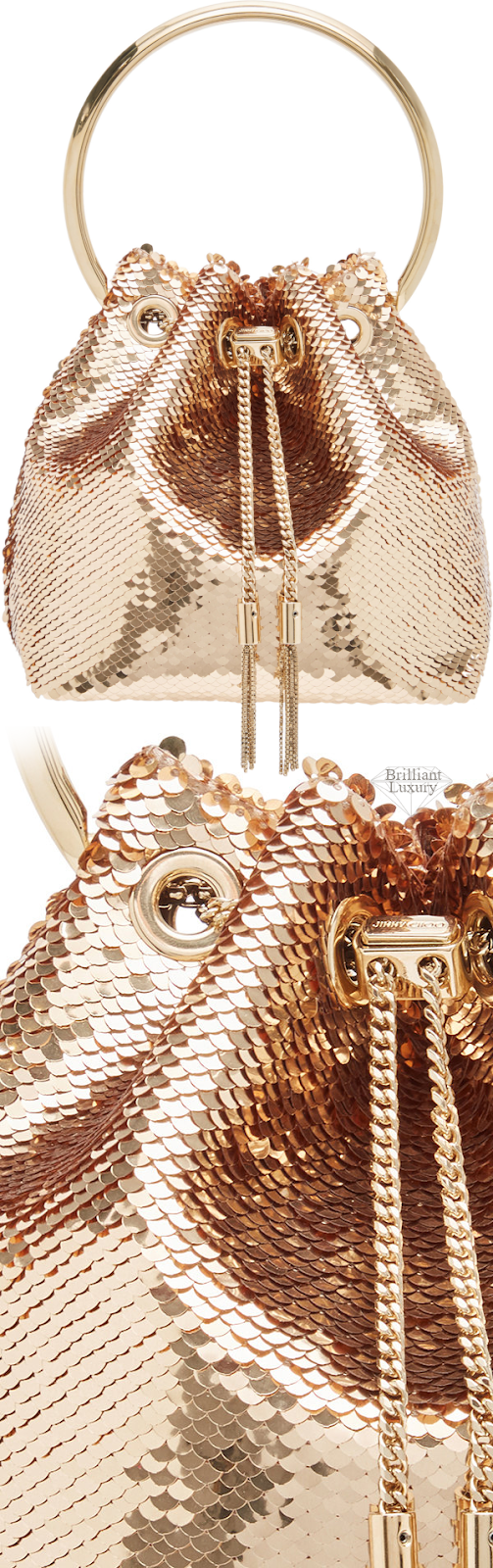 Jimmy Choo Bon Bon Sequined Golden Metallic Satin Bucket Bag #brilliantluxury