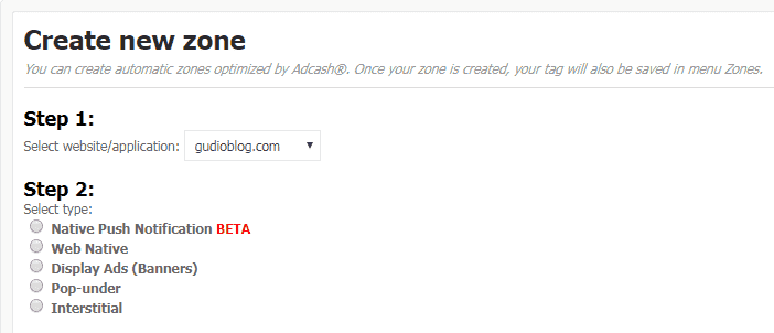 Adcash - Create Zone