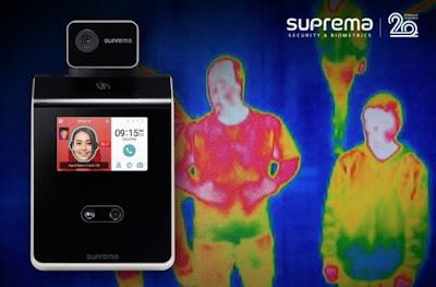 Biometría facial con control de temperatura corporal