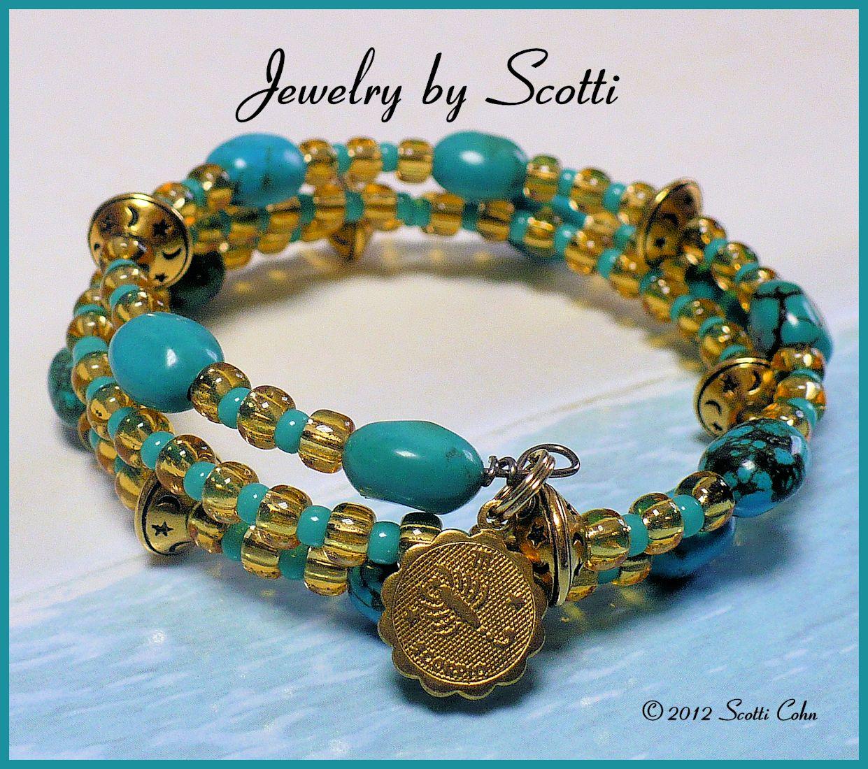 Wire Bracelets With Charms: * Jewelry By Scotti *: Turquoise Topaz Memory Wire Scorpio