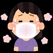 マスクが蒸れる人のイラスト(女性)