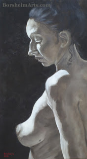 Kristen, a nude model who posed for this oil painting by Kelly Borsheim
