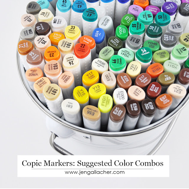 Suggested Copic Color Combinations by Jen Gallacher for www.jengallacher.com #copic #markers #coloring #jengallacher