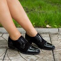 Pantofi dama Piele Zuza negri tip Oxford • modlet